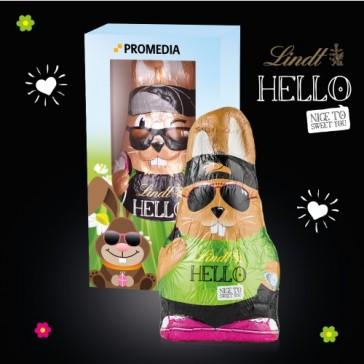 Der Hase von Lindt als Hello Bunny in einer Schachtel oder Kiste als Werbebox mit Sichtfenster individuell bedrucken.