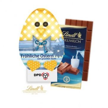 Süßes Osterküken als Werbebox beinhaltet eine Tafel Schokolade von Lindt