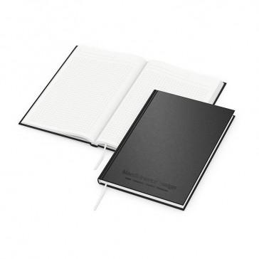 Recycling Note Book DIN A5 mit schwarzer Ton-in-Ton-Prägung auf schwarzem Einband