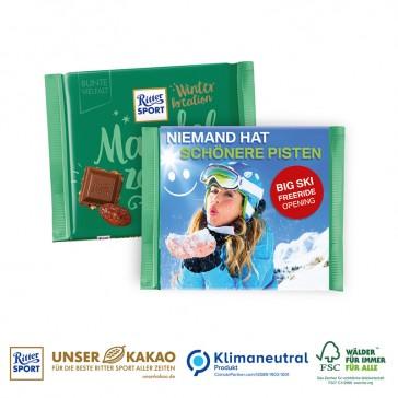 Ritter SPORT Winterkreation Schokoladentafel in Werbebanderole bedrucken