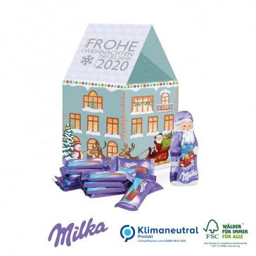 Milka Weihnachtshaus als Präsent bedrucken