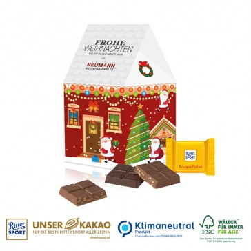 Weihnachtshaus Präsent mit Ritter Sport Schokotäfelchen bedrucken als Werbeartikel