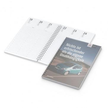 Buchkalender Media Wire-O mit Werbeseite bedrucken