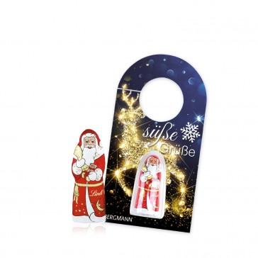 Schokokarte Anhänger Business mit Lindt Weihnachtsmann (ab 250 Stück)