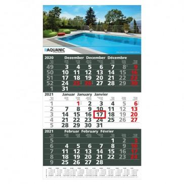 Wandkalender Ultra 3 mit grauem Kalendarium
