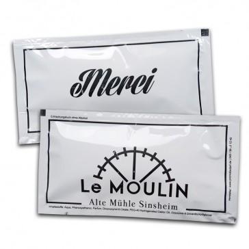 Merci Le Moulin Erfrischungstücher als Werbemittel bedrucken