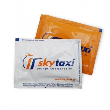 Frischetücher Skytaxi als Werbemittel mit eigenem Logo mehrfarbig beidseitig
