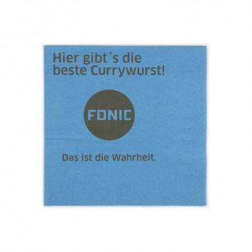 Blaue Servietten mit Motiv Fonic als Beispiel für Digitaldruck auf 33cm Tissueservietten