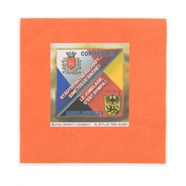Orangene Servietten mit Aufdruck als Wappen für Event