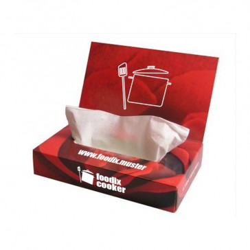 Luxus Premium Extra Serviettenspender oder Kleenexbox bedrucken als Taschentücher Zupfbox mit Werbedeckel