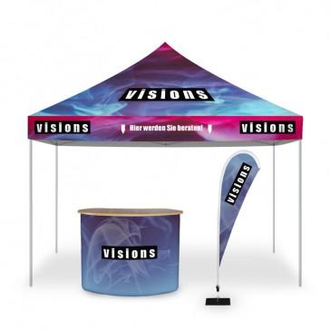 Mobiler Messestand als 3x3m Werbezelt mit Theke und Beachflag