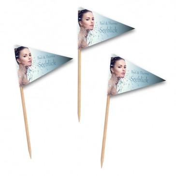Wimpelförmige dreieckige Mini Fähnchen als Partypicker oder Essensfähnchen bedrucken