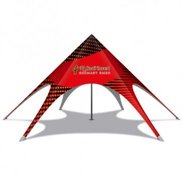 Sternförmiges Messe Zelt bedrucken als Star Tent für Event branden