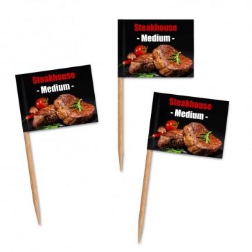 Premium Zahnstocherfähnchen mit eigene Motiv Steakhaus bedrucken