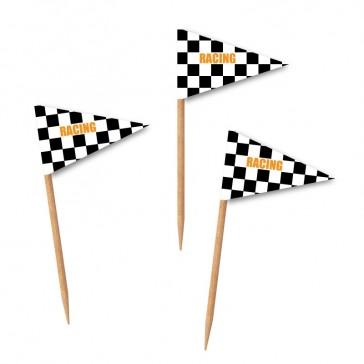Zahnstocherfähnchen mit Wimpel Aufdruck eigenes Motiv Racing Schachbrett