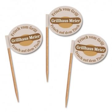 Ovale Zahnstocherfähnchen mit eigenem Logo bedrucken Grillhaus Meier