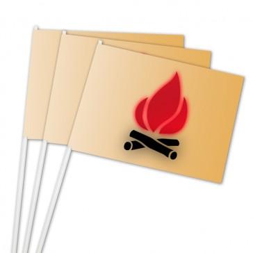 Sicherheit durch flammenhemmendes Papier als Fähnchen bedruckt