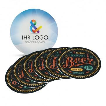 Runde einfache Bieruntersetzer individuell mit eigenem Logo beidseitig beducken günstig