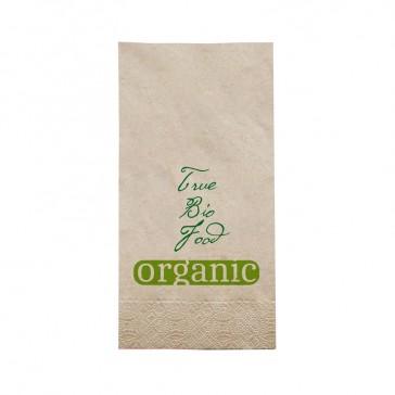 Serviette 40cm im 1/8 Falz mit Organic True Bio Food eigenem Logo bedrucken im Öko Look