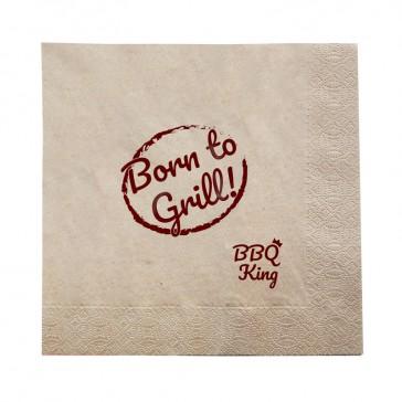 Serviette 40cm Born to Grill BBQ King bedrucken im Öko Look