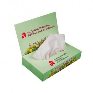 Serviettenspender oder Kleenexbox bedrucken als Taschentücher Zupfbox mit Werbedeckel