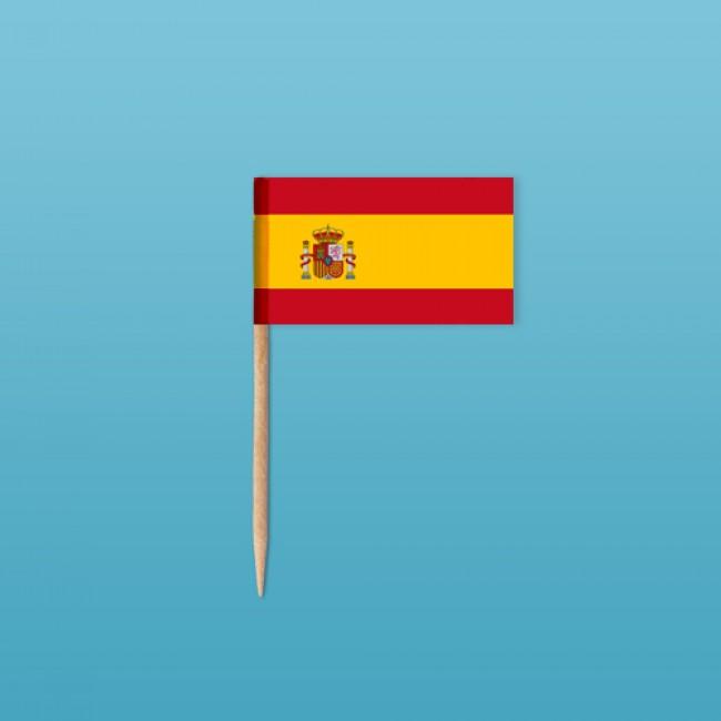 spanien flaggenpicker als zahnstocherf hnchen mit standardmotiv ab st ck bedrucken. Black Bedroom Furniture Sets. Home Design Ideas