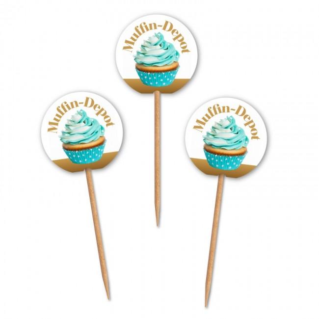 runde muffinpicker f r cupcakes als zahnstocher f hnchen 40mm ab 100 st ck bedrucken. Black Bedroom Furniture Sets. Home Design Ideas