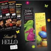 Lindt 'HELLO' Schokolade als 100g Tafel in Werbeschuber Ostern (ab 250 Stück)