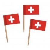 Schweiz Flaggenpicker als Zahnstocherfähnchen mit Standardmotiv (ab 1.000 Stück)