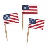 USA Flaggenpicker als Zahnstocherfähnchen mit Standardmotiv (ab 1.000 Stück)