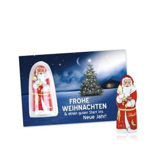 Schokokarte Business mit Lindt Weihnachtsmann (ab 250 Stück)