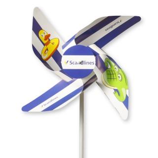 Windmühlen 4 Flügel in Kleinauflage aus Kunststoff YUPO 116 g/m² mit Front-Rosette (ab 100 Stück)
