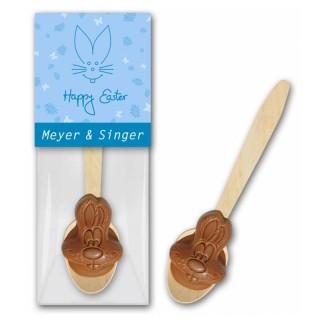 Trinkschokolade als Hasenkopf in Vollmilch eingeschweißt mit bedrucktem Etikett anfertigen lassen