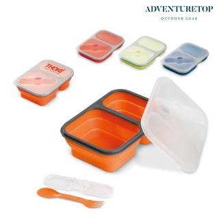 Faltbare Silikon Brotbox mit 2 Fächern (ab 50 Stück)