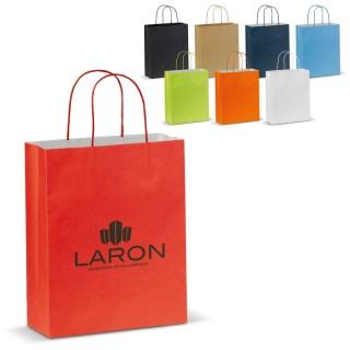 Mittelgroße matte Papiertasche mit Henkeln (ab 100 Stück)