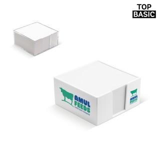 Praktische Zettelbox mit weißem Papier (ab 100 Stück)