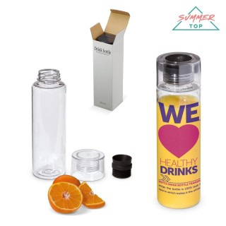 Transparente Trinkflasche aus Kunststoff (ab 100 Stück)