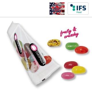 Jellybeans als Geleebohnen in Werbetüte spitz bedruckt