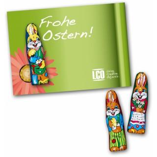 So günstig und effektiv geht ein Ostermailing: Individuell bedruckte Karte mit kleiner Süßigkeit zu Ostern bedrucken.