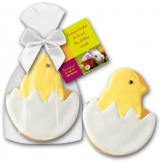 Süßes Küken im Ei als Cookie oder Keks mit angebundener individuell bedruckter Karte
