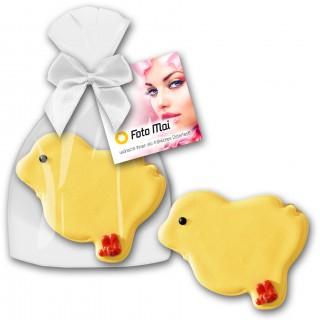 Cookie Keks Küken als Werbeartikel zu Ostern mit individuell bedruckter Karte