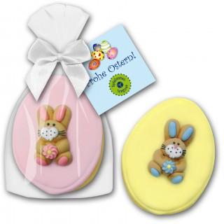 Keks Hase im Beutel mit Karte Werbegeschenk Ostern