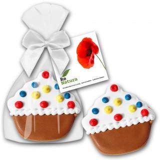 Muffinförmiger Keks als Cupcake Cookie mit Karte am Säckchen befestigt als Werbung zu Ostern