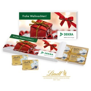 Lindt Präsentbox mit 6 Schokotäfelchen zu Weihnachten 30g (ab 100 Stück)