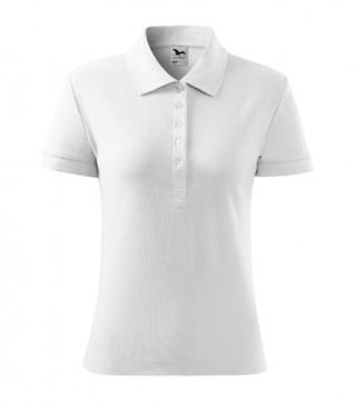 Damen Polohemd Cotton Heavy weiß (ab 50 Stück)