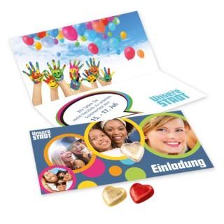 Zum Frühjahr Gruß per Karte mit Herz aus Schokolade von Lindt versenden oder verteilen