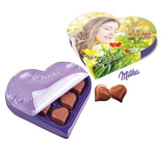 Herz mit Pralinen von Milka und eigenem Aufdruck Gestalten zu Ostern oder Weihnachten oder Valentinstag bedrucken