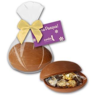 Gefülltes Schoko-Ei mit einzeln abgepackten feinsten Trüffelpralinen befüllt und bedruckter Karte als Werbeartikel zu Ostern