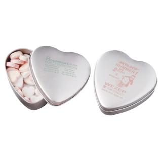 Herzbonbons ca. 80 gr, große Blechdose Herz (ab 250 Stück)