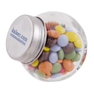 Mini Bonbonglas gefüllt, Deckel farbig (ab 100 Stück)